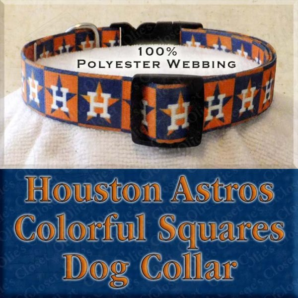 Houston Astros H Logo Orange Navy Squares Polyester Webbing Designer Dog Collar Product Image No1