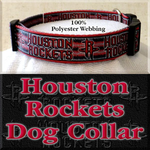Houston Rockets Basketball Polyester Webbing Designer Dog Collar Product Image No1