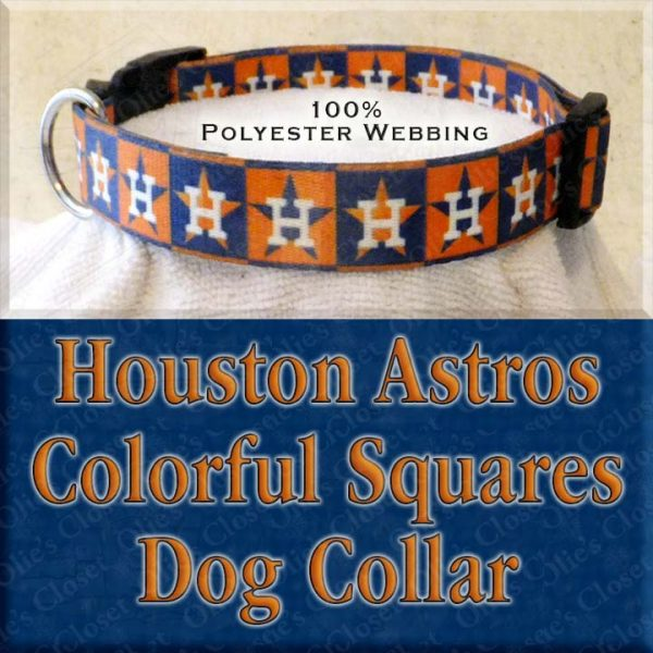 Houston Astros H Logo Orange Navy Squares Polyester Webbing Designer Dog Collar Product Image No4