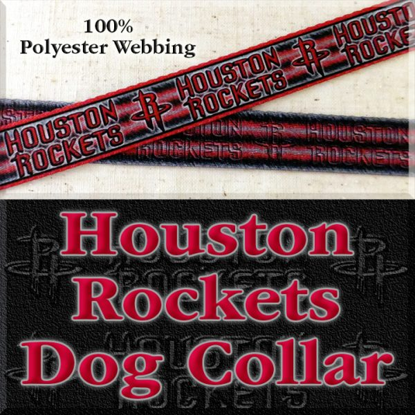 Houston Rockets Basketball Polyester Webbing Designer Dog Collar Product Image No4