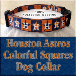 Houston Astros H Logo Orange Navy Squares Polyester Webbing Designer Dog Collar Product Image No3
