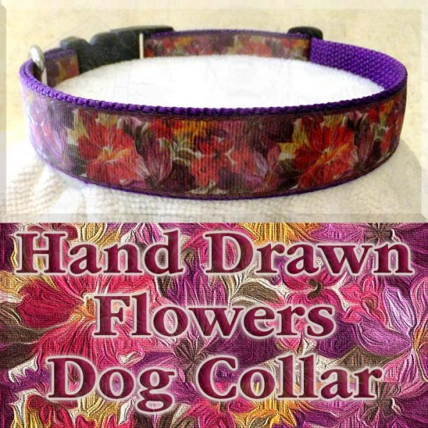 Hand Drawn Flowers Dog Collar Product Image No1