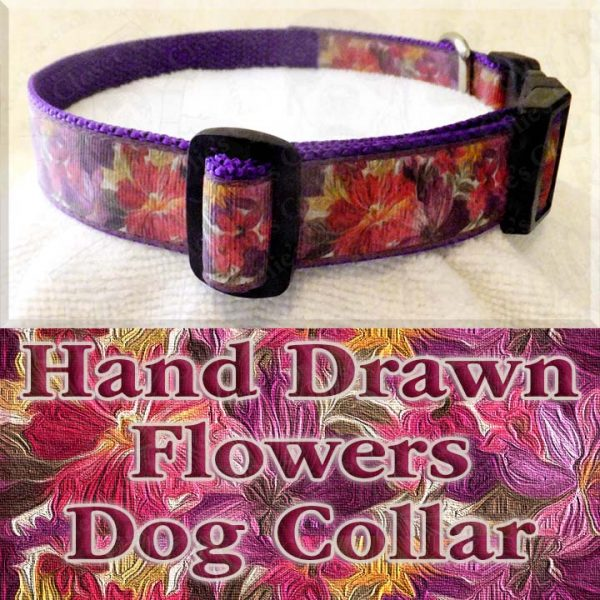 Hand Drawn Flowers Dog Collar Product Image No2
