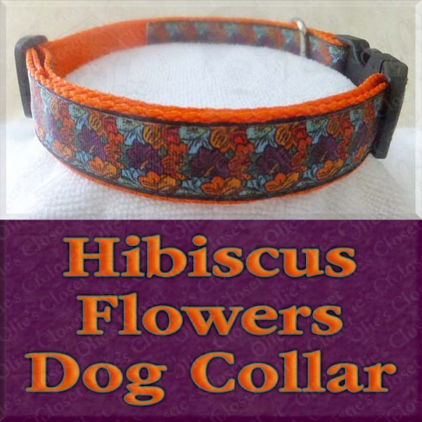 Multi Colored Retro Hibiscus Flowers Designer Dog Collar Product Image No1