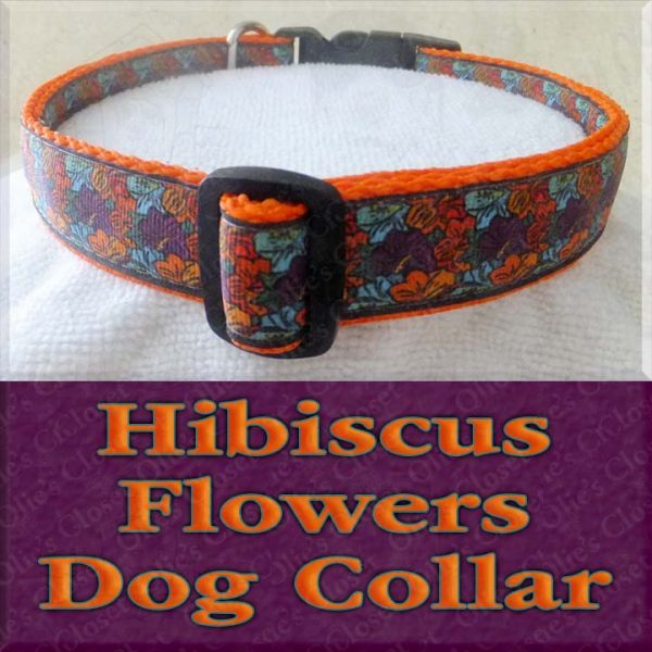 Multi Colored Retro Hibiscus Flowers Designer Dog Collar Product Image No2