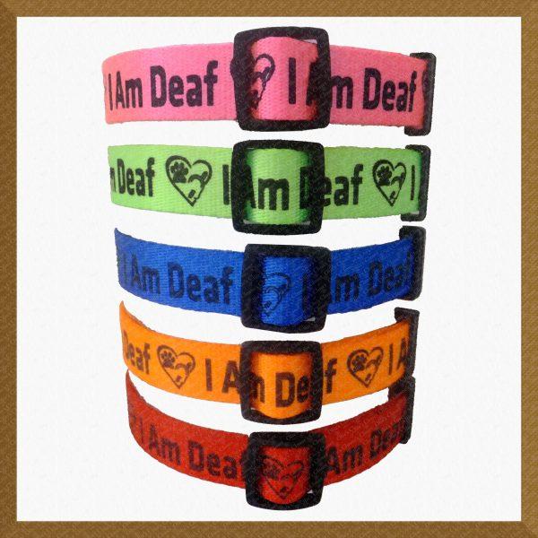 I Am Deaf Neon Polyester Webbing Designer Dog Collar Product Image No2