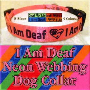 I Am Deaf Neon Polyester Webbing Designer Dog Collar Product Image No6