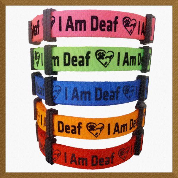 I Am Deaf Neon Polyester Webbing Designer Dog Collar Product Image No3
