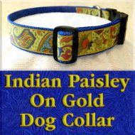 Indian Paisley on Gold Designer Dog Collar Product Image No1