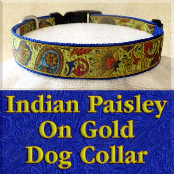 Indian Paisley on Gold Designer Dog Collar Product Image No2