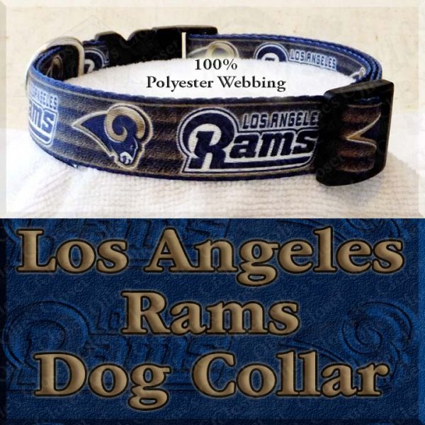 LA Los Angeles Rams Football Polyester Webbing Designer Dog Collar Product Image No3