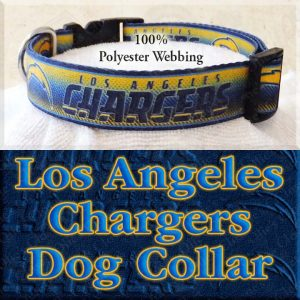 LA Los Angeles Chargers Football Polyester Webbing Designer Dog Collar Product Image No3