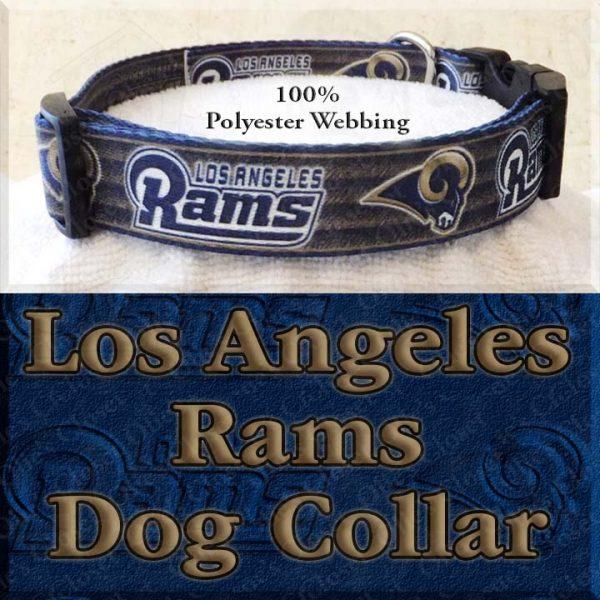 LA Los Angeles Rams Football Polyester Webbing Designer Dog Collar Product Image No2