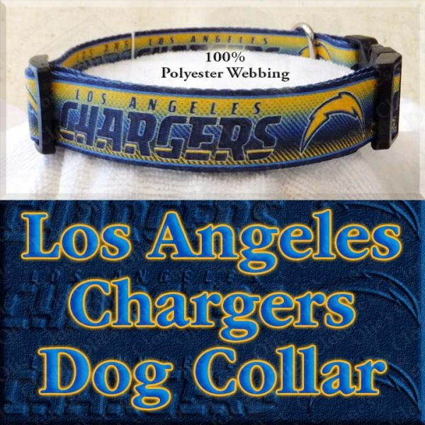 LA Los Angeles Chargers Football Polyester Webbing Designer Dog Collar Product Image No2
