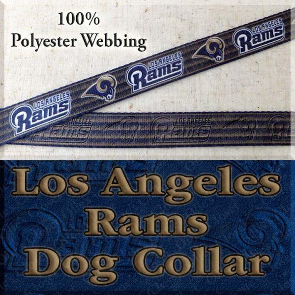 LA Los Angeles Rams Football Polyester Webbing Designer Dog Collar Product Image No1