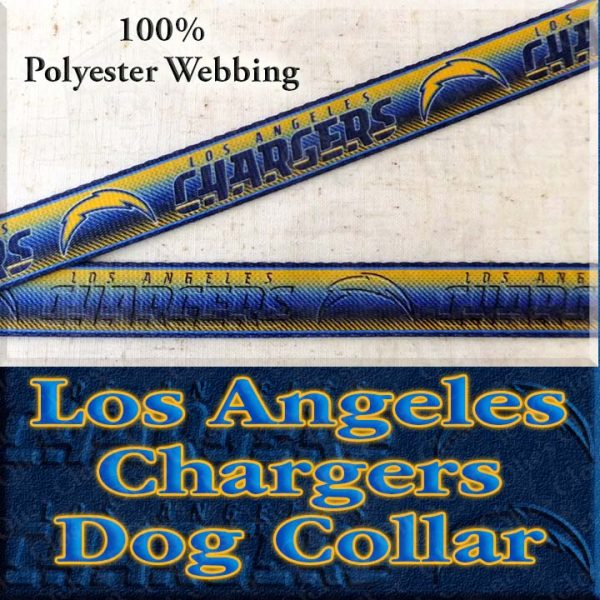 LA Los Angeles Chargers Football Polyester Webbing Designer Dog Collar Product Image No1