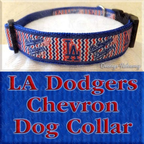 Los Angeles LA Dodgers Chevron Dog Collar Product Image No1