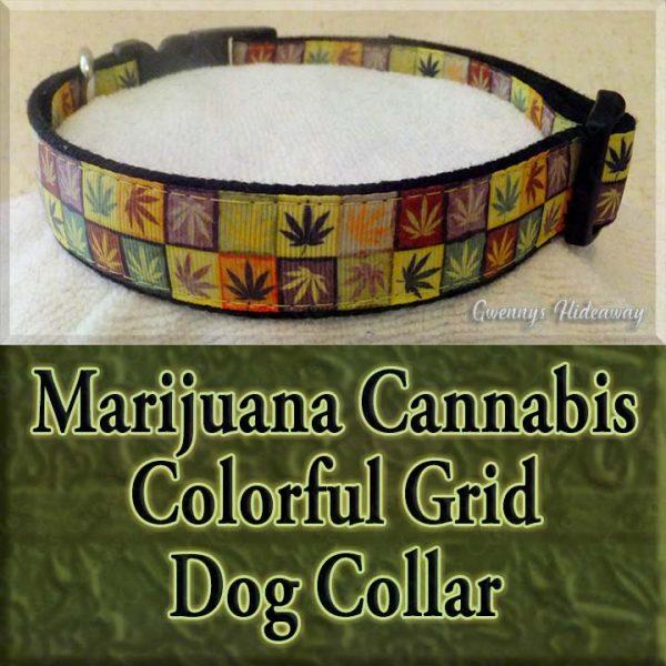 Marijuana Cannabis Colorful Grid Designer Dog Collar Product Image No2