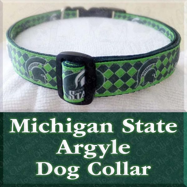Michigan State University Spartans Argyle Designer Dog Collar Product Image No1