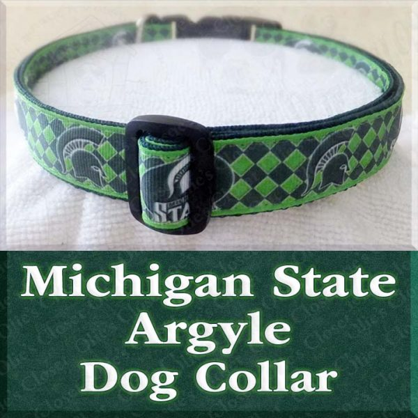 Michigan State University Spartans Argyle Designer Dog Collar Product Image No3
