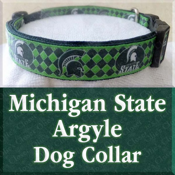 Michigan State University Spartans Argyle Designer Dog Collar Product Image No2