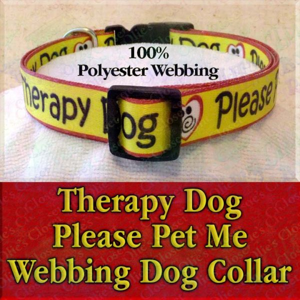 Therapy Dog Please Pet Me Misfit Paws Polyester Webbing Designer Dog Collar Product Image No1