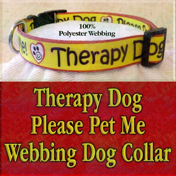 Therapy Dog Please Pet Me Misfit Paws Polyester Webbing Designer Dog Collar Product Image No5