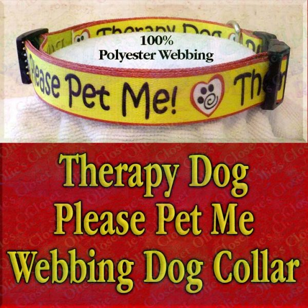 Therapy Dog Please Pet Me Misfit Paws Polyester Webbing Designer Dog Collar Product Image No4
