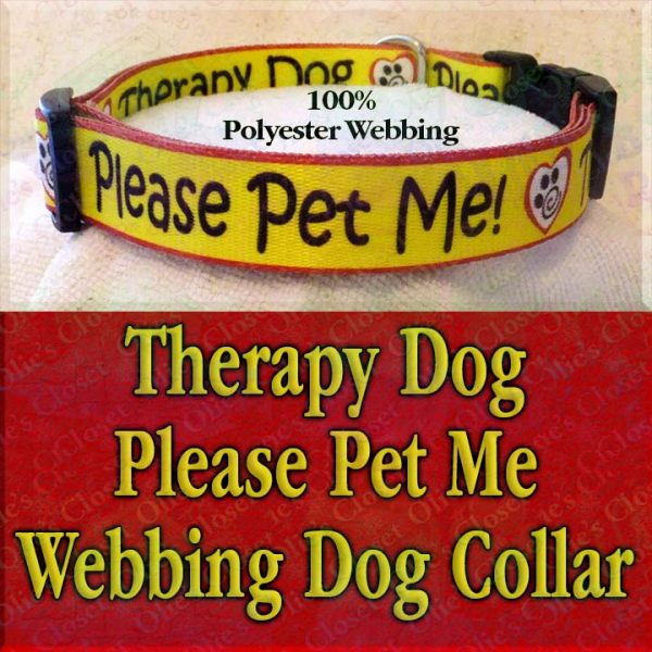 Therapy Dog Please Pet Me Misfit Paws Polyester Webbing Designer Dog Collar Product Image No3
