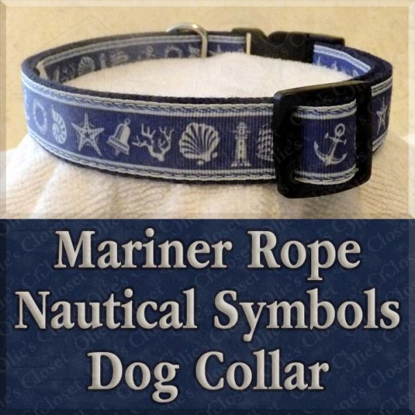 Mariner Rope Nautical Symbols Designer Dog Collar Product Image No2