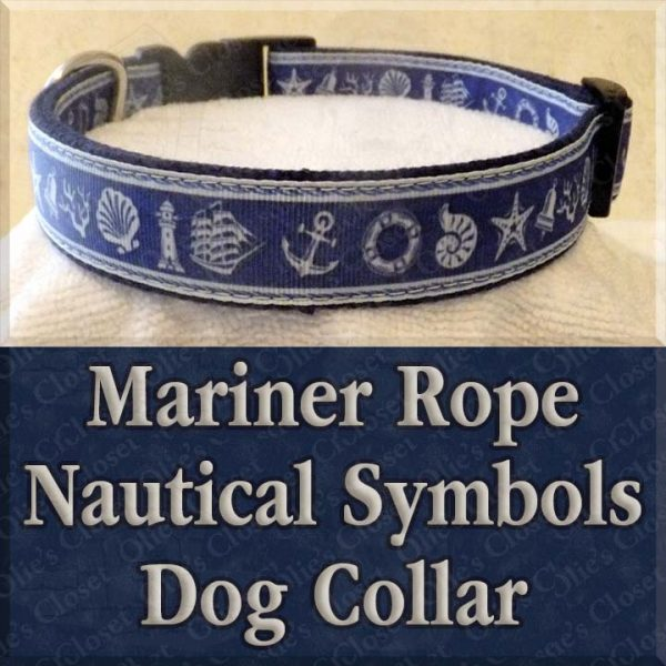 Mariner Rope Nautical Symbols Designer Dog Collar Product Image No1