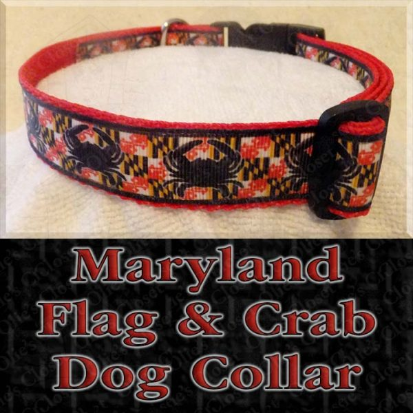 Maryland Flag Crab Designer Dog Collar Product Image No1