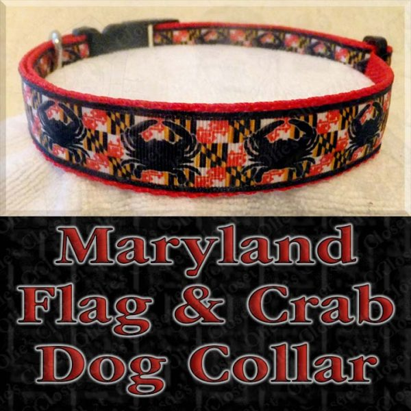 Maryland Flag Crab Designer Dog Collar Product Image No3