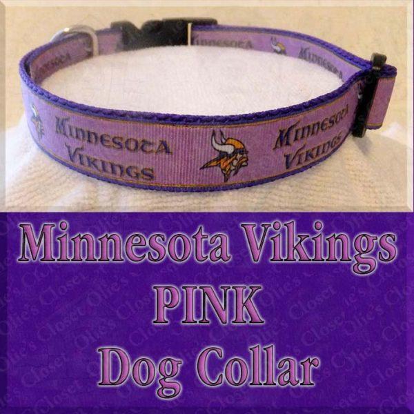 Minnesota Vikings PINK Dog Collar Product Image No1