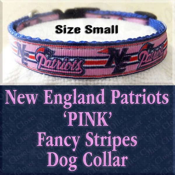 New England NE Patriots Pink Fancy Stripes Size Small Designer Dog Collar Product Image No2