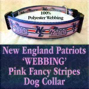 New England NE Patriots Pink Fancy Stripes Polyester Webbing Designer Dog Collar Product Image No3