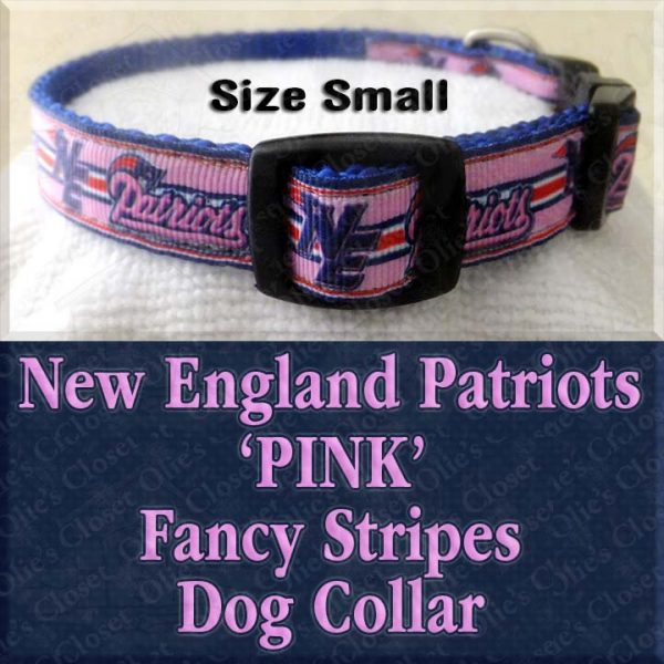 New England NE Patriots Pink Fancy Stripes Size Small Designer Dog Collar Product Image No1