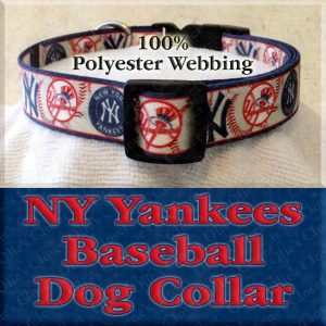 NY New York Yankees Baseball Polyester Webbing Designer Dog Collar Product Image No1