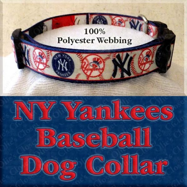 NY New York Yankees Baseball Polyester Webbing Designer Dog Collar Product Image No4