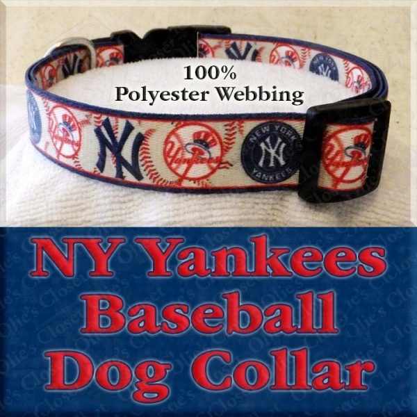 NY New York Yankees Baseball Polyester Webbing Designer Dog Collar Product Image No3