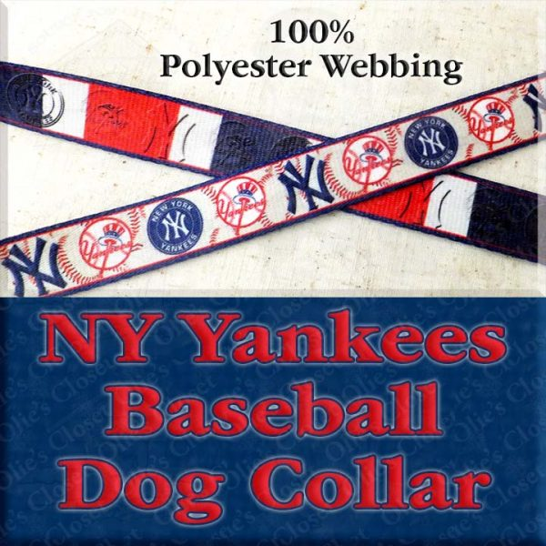 NY New York Yankees Baseball Polyester Webbing Designer Dog Collar Product Image No2
