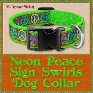 Neon Peace Signs Designer Dog Collar Product Image No1