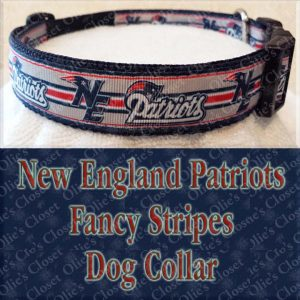 New England Patriots Fancy Stripe Dog Collar Product Image No1