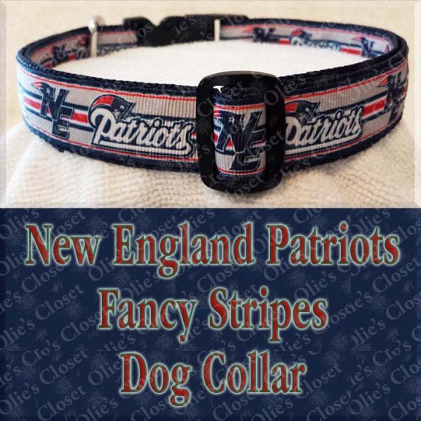 New England Patriots Fancy Stripe Dog Collar Product Image No2
