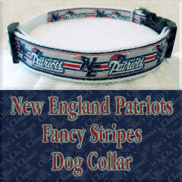 New England Patriots Fancy Stripe Dog Collar Product Image No3