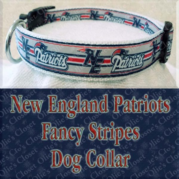 New England Patriots Fancy Stripe Dog Collar Product Image No4