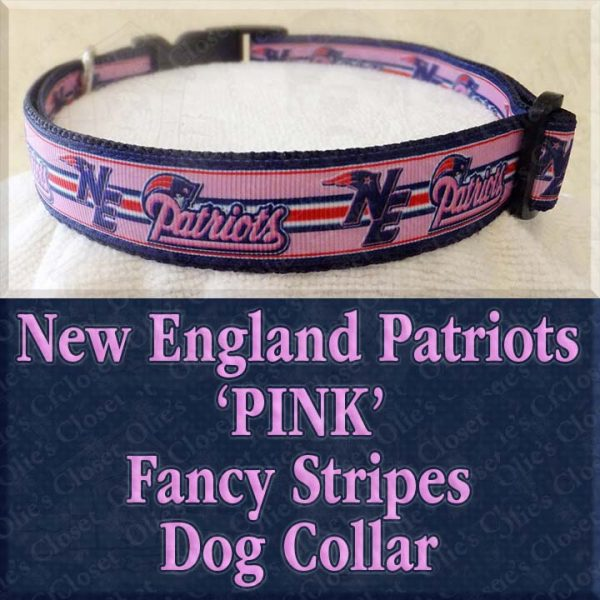 New England NE Patriots Pink Fancy Stripes Designer Dog Collar Product Image No2