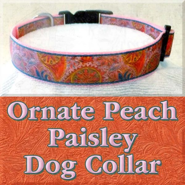 Ornate Fancy Peach Paisley Designer Dog Collar Product Image No1