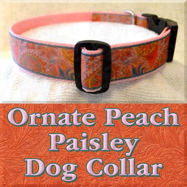Ornate Fancy Peach Paisley Designer Dog Collar Product Image No2