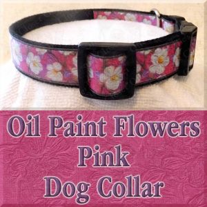 Pink Oil Paint Flowers Designer Dog Collar Product Image No2